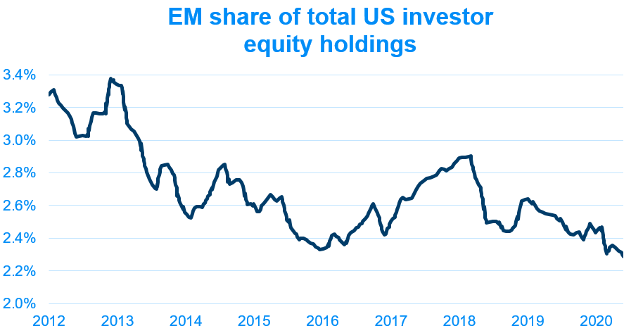EM share of total US investor equity holdings